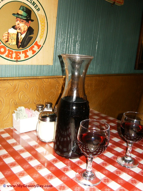 Carafe of Red Wine at Casa Bianca Pizza Restaurant